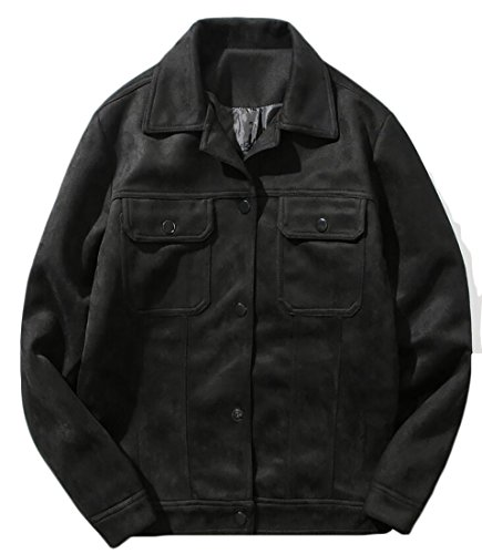 WSPLYSPJY Men's Casual Suede Leather Jackets Coats black L