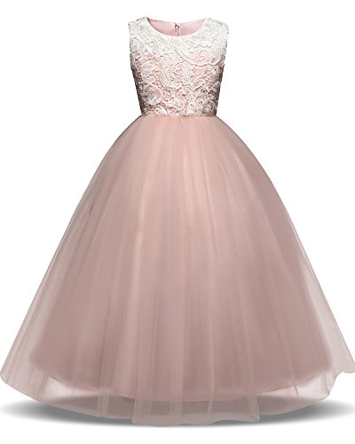 - TTYAOVO Girl Lace Tulle Flower Princess Party Maxi Dress Kids Prom Ball Gown Size 6-7 Years Pink