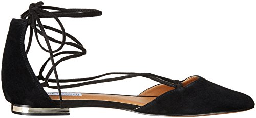 Steve Madden Mujeres de sol Pointed Toe plana Black Suede