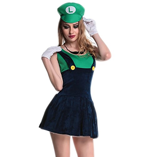 Super Mario Luigi Deluxe Adult Costumes (Eternatastic Womens Halloween Costume Nintendo Super Mario Adult Costume Mustache Green XL)