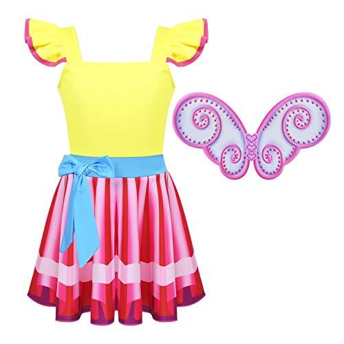 dPois Kids Girls' Fancy Nancy Halloween Birthday Party Digital Printed Princess Dress with Wings 2PCS Set Yellow -