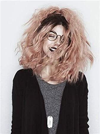 Curly Wave Lace Front Wigs Ombre Dark Roots to Mixed Pink 2 Tones Color Short Bob Wigs Glueless Synthetic Hair Wig for Women, Drag Queen (Ombre Pink) PINKSHOW