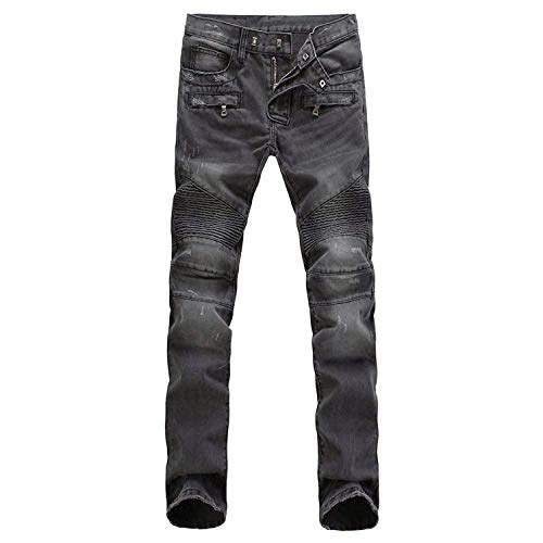 In Look Uomo Da Stretch Cowboy Pantaloni Streetwear Jeans Denim Estilo Grau Plissettato Especial Jean Casual Fit Vintage Slim 065xHq