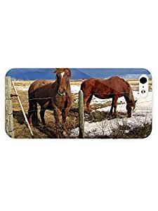 3d Full Wrap Case For Iphone 5/5S Cover Animal Horses Behind The Fence