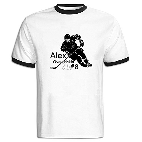 Price comparison product image Jade Men's Two-toned Tshirts-Classic 8 Ice Hockey Alex Ovechkin Black Size M