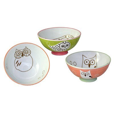 Set of 3 assorted rice bowls. Owls. 4.75
