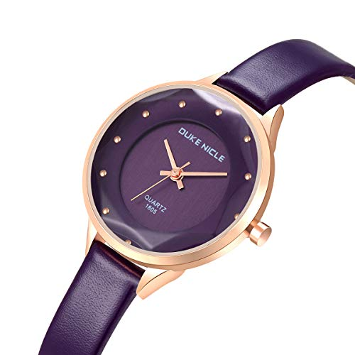 Womens Fashion Watch,Ladies Elegant Waterproof Quartz Rose Gold Case Diamond Dial Casual Wrist Watches for Girls with Soft Genuine Leather Band(Red/Blue/Black/White/Purple) (Purple02)