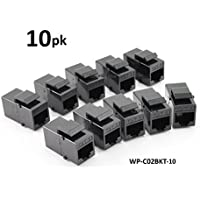 CablesOnline, 10-PACK CAT6 Female/Female RJ45 Ethernet Black Keystone Snap-in Couplers, WP-C02BKT-10