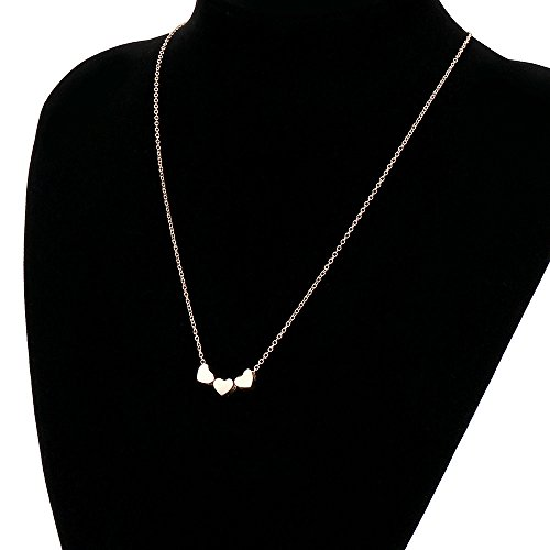 Gold Three Heart Bib Statement Pendant Chain Necklace Fashion Jewelry (Rose Gold) ()