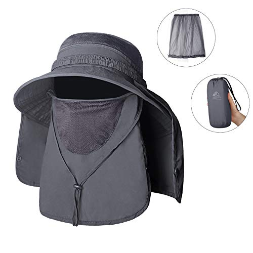 Unigear Sun Hat, UPF 50+ Sun Protection Wide Brim Bucket Hat with Removable Mosquito Net and Neck Face Flap, Breathable Packable for Safari, Fishing, Hiking, Gardening, for Men & Women (Dark Gray) (Best Boonie Hat For Sun)