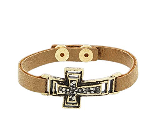 The Bridge Collection Rose Gold Leather Strap Bracelet with Cross