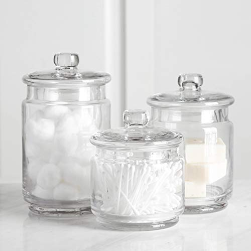 (Whole Housewares Clear Glass Apothecary Jars-Cotton Jar-Bathroom Storage Organizer Canisters Set of)