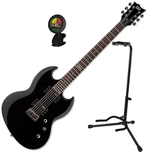 ESP LTD Viper-200 Baritone BLK Electric Guitar w/ Stand and Tuner Esp Viper Baritone
