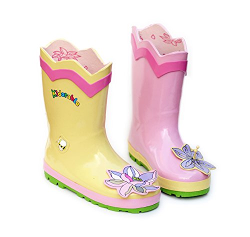 (Kidorable Girls' Lotus Rain Boot, Pink 11 M US Little)