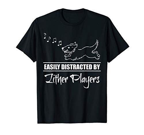 Running Dog Easily Distracted by Zither Players Whimsical T-Shirt