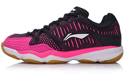 LI-NING Double Jacquard Women's Professional Cushion Badminton Shoes Lining Breathable Sneakers Training Sports Shoes Black Pink AYTM078 US Size 8