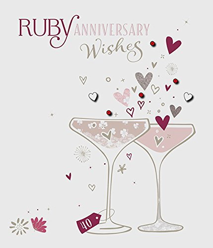 Amazon.com: Ruby 40th aniversario de boda deseos 40 años ...