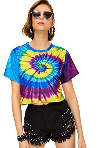 SweatyRocks Women's Short Sleeve Tie Dye Striped Crop T-Shirt Casual Tee Tops Multicolored Medium - Multi Colored Tie Dye