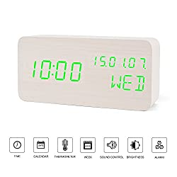 Led Clock---FiBiSonic Wood Digital Clock Small Green Led Clock, Displays Time Date and Temperature,Silent Modern Style Alarm Clock with Thermometer and Calender, Gift for Friends/Families