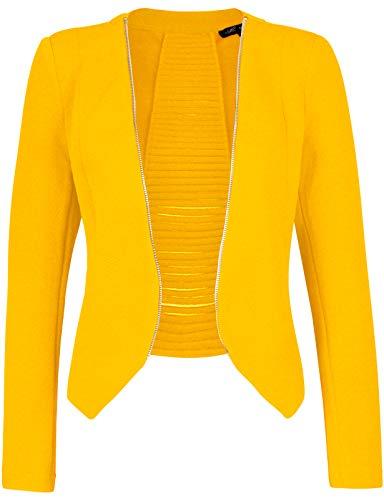 Open Cardigan Lightweight Jacket Women's Front Michel Blazer Small Yellow RA4j5q3L