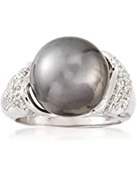 Certified 12-13mm Black Tahitian Cultured Pearl and .26 ct. t.w. Diamond Ring in 14kt White Gold