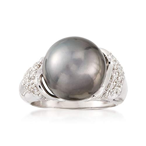 Ross-Simons Certified 12-13mm Black Tahitian Cultured Pearl and .26 ct. t.w. Diamond Ring in 14kt White Gold