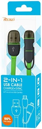 Green Retail Packaging Reiko 2-in-1 USB Data Cable for 8-Pin and Micro-USB Devices