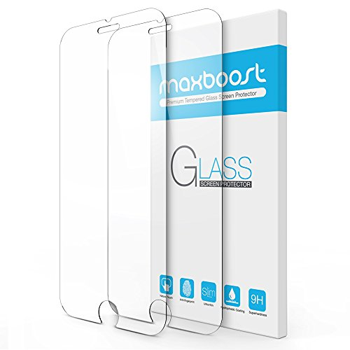 iPhone 7 Screen Protector, Maxboost 2 Pack Tempered Glass Screen Protector For...
