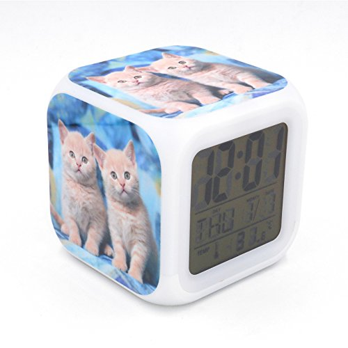 orthair Cat Kitty Led Alarm Clock Desk Clock Calendar Snooze Glowing Led Digital Alarm Clock for Unisex Adults Kids Toy Gift ()