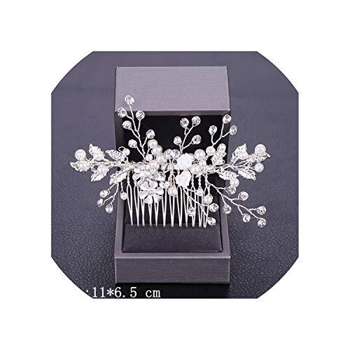 Women Hair Combs Wedding Hair Accessories Tiara Pearl Rhinestone Silver Bridal Hair Ornaments Flower Head Jewelry Headband,Silver23 (Plumeria Hair Comb)