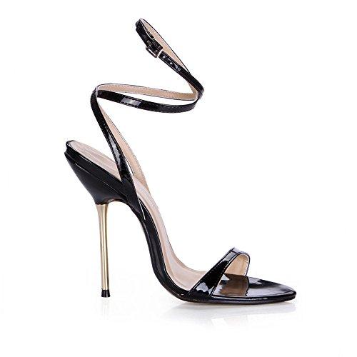 La De Vida heel Mostrar Femenino Con Hierro El Black Alto Shoes Sandalias Banquetes Nocturna Pearl Finos gaddcRSqn
