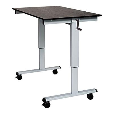"""Luxor SC-48-AG/BO-1PK 48"""" Crank Adjustable Stand Up Desk Black Oak with Silver Frame - 1 Pack"""