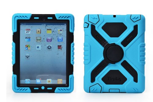 Pepkoo Ipad 2/3/4 Case Plastic Kid Proof Extreme Duty Dual Protective Back Cover with Kickstand and Sticker for Ipad 4/3/2 - Rainproof Sandproof Dust-proof Shockproof (Blue/black)