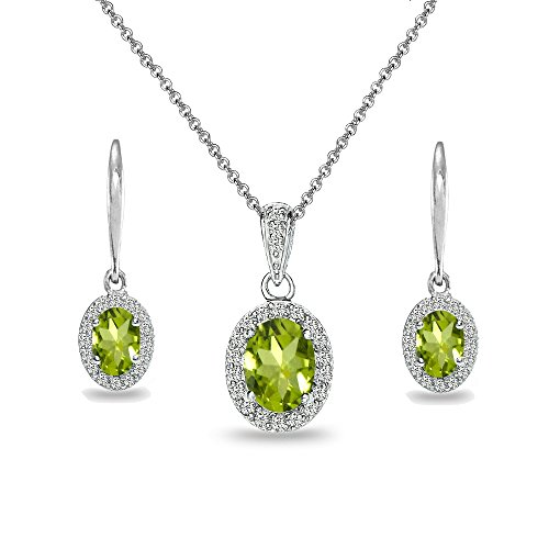 dot & White Topaz Oval Halo Necklace & Leverback Earrings Set (Peridot Pendant Set)