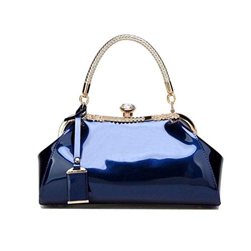 Élégant Brillant Main À Dame Mode Et Diamant Blue Verni Mariée Sac Américaine Européenne De Cristal Cuir Simple qF8gn6R