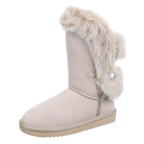 Ital-Design Komfortstiefel Damen Leder Schuhe Klassischer Stiefel Warm Gefütterte Stiefel Beige