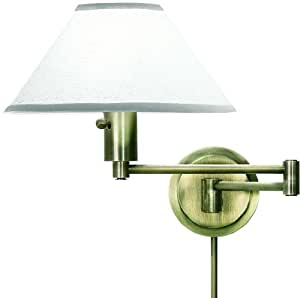 House Of Troy WS14-71 Home/Office Collection Swing-Arm Wall Lamp, Antique Brass with Off-White Linen Hardback Shade