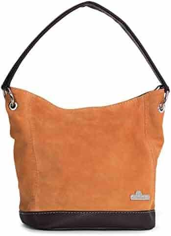 f9226d0a7 LIATALIA Womens Girls Handmade Single Handle Real Italian Suede Leather  Medium Hobo Handbag Purse - DENISE