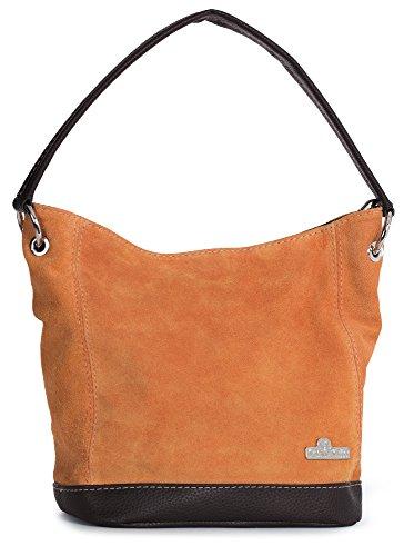 LIATALIA Hand Made Single Handle Real Italian Suede Leather Medium Hobo Handbag Purse - DENISE Burnt Orange