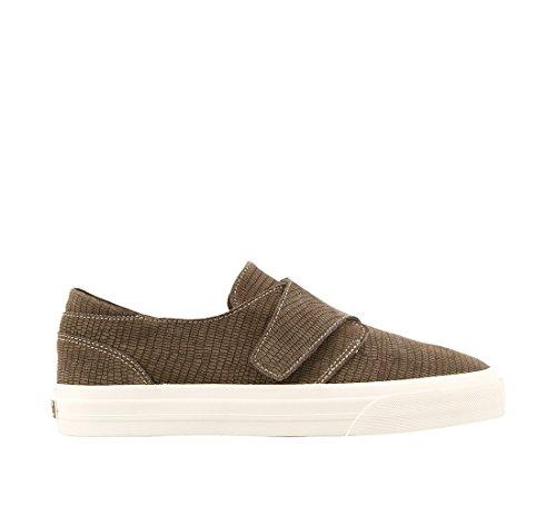 Taos Footwear Womens Soul Sneaker Taupe In Rilievo In Pelle Scamosciata
