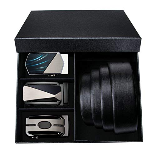 Fashion Automatic Buckle Genuine Leather luxury Belts Alloy Buckle Belts For Men Wedding Groom Gift Box Set,PT-0034,145cm ()