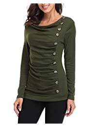 Miss Moly Women Long Sleeves Buttons Decor Ruched Front Cowl Neck Tunic T-Shirt