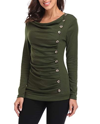 Blouse Front Ruched - MISS MOLY Women's Cowl Neck Tunic Button Decor Ruched Front Long Sleeves Work Tops T-Shirt Army Green
