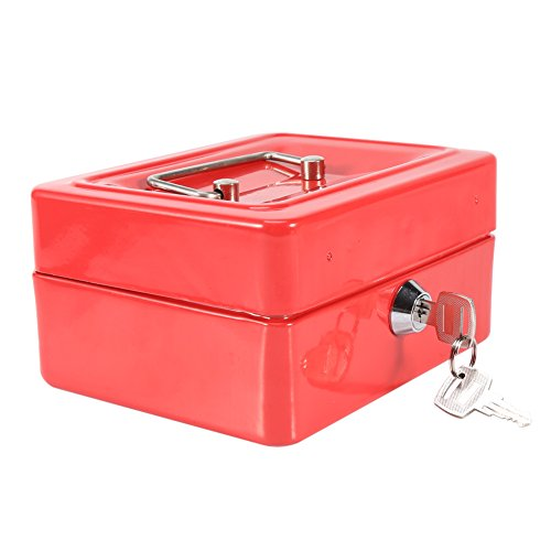 Portable Cash Box, 1Pc Steel High Security Key lockable Household Cash Coin Storage box For Home Office(Red)