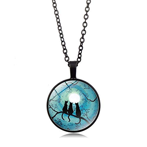 Water Hep Glow Necklace Galaxy Blue Moon Glowing Cat Necklace Art Photo Glass Dome Cabochon Pendant Silver Chain Necklace Glow in The Dark Jewelry YG0021 Blue Moon Art Glass Pendant