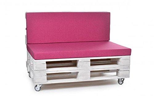 Palettenkissen, Gartenmöbel Auflagen, Sitzbankauflage, Matratzenauflagen auch m. Rückenlehne bzw. Dekokissen in Polyester pink, wasserabweisend und strapazierfähig