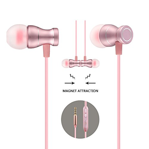 Acode in-Ear Earbuds Earphones Headphones, 3.5mm Metal Housing Magnetic Best Wired Bass Stereo Headset Built-in Mic/Hands-Free/Volume Control+Carrying Case+3 Pair Earbuds (Rose Gold)