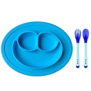 Cheaboom Silicone Food Placemat, Silicone Food Tray Babies Placemat Plate Non-Slip Placemat with Spoons and Fork for Kids,Toddlers(Blue)