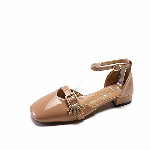 femmina alti Brown con tacchi spessa XIAOGEGE donna scarpe con da Baotou fibbia sandali 8nPq7w