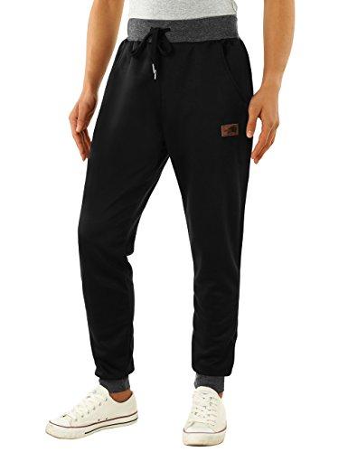 HEMOON Men's Jogging Loose Tracksuit Bottoms Training Running Pants Black - Running Mens Suit
